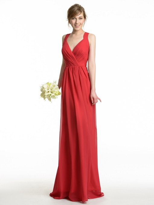 Ericdress Straps Hollow Long Bridesmaid Dress