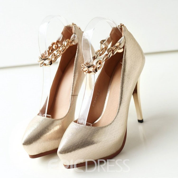 Ericdress Metal Chains Ankle Strap Prom Shoes