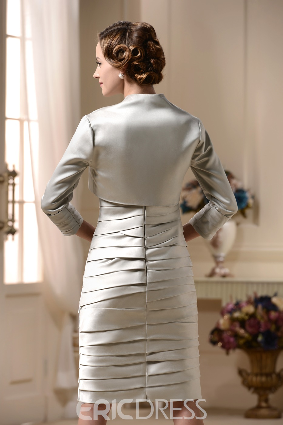 Vogueable Tiered Sheath/Column Square Neckline Mother of the Bride Dress with Jacket/Shawl
