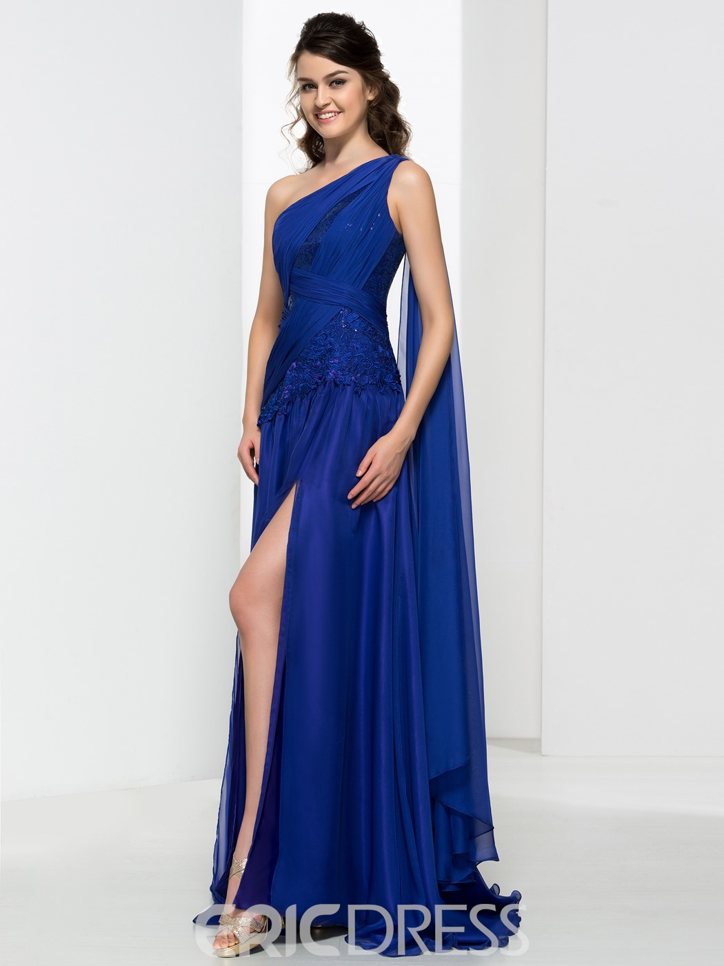 Ericdress One Shoulder Pleats Appliques Sequins Evening Dress With Split-Front