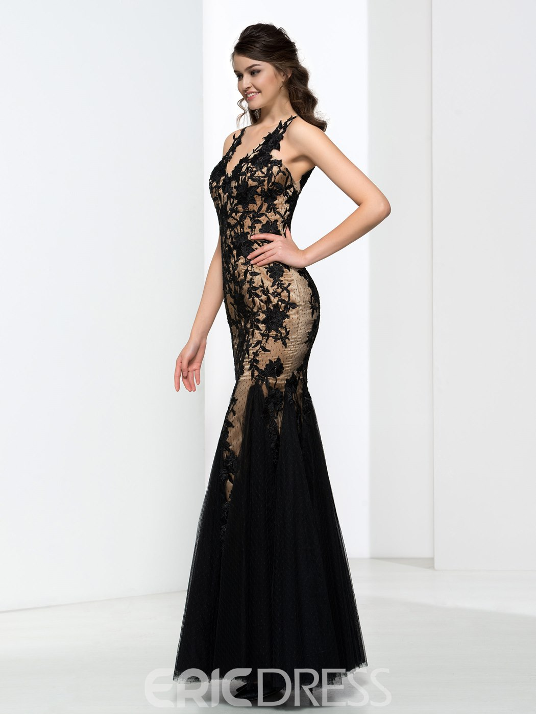 Ericdress V-Neck Appliques Open Back Mermaid Lace Evening Dress