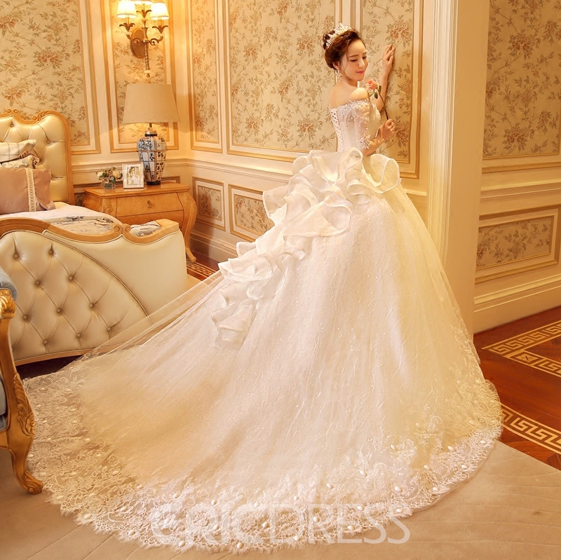 Ericdress Half Sleeve Off The Shoulder Lace Wedding Dress