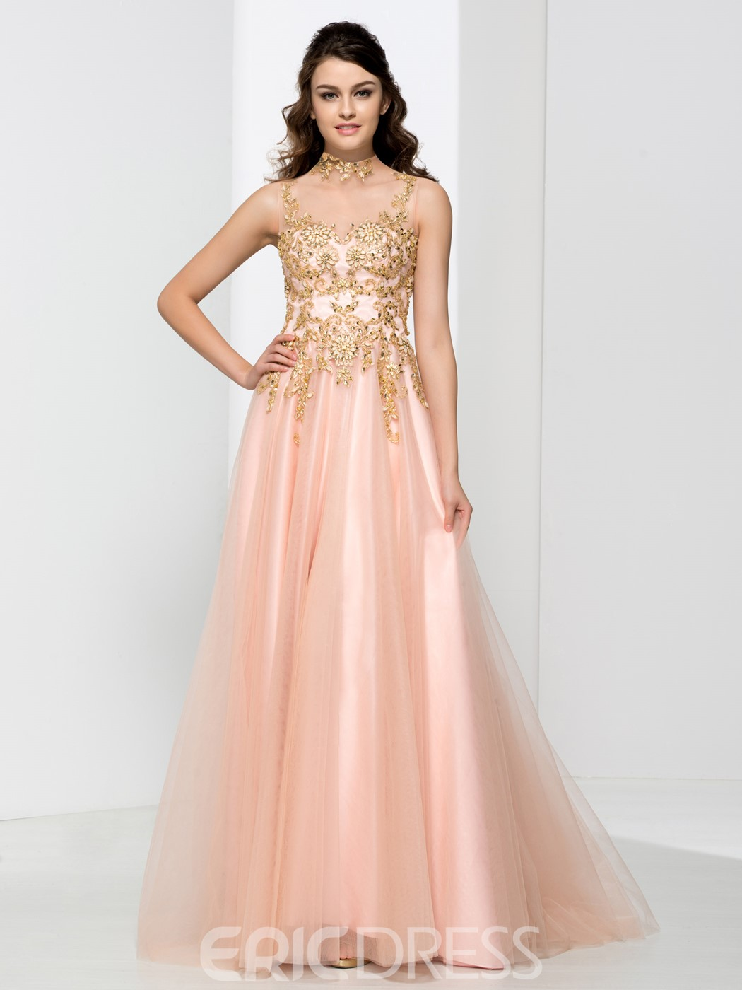 Ericdress High Neck Appliques Beading Button Prom Dress