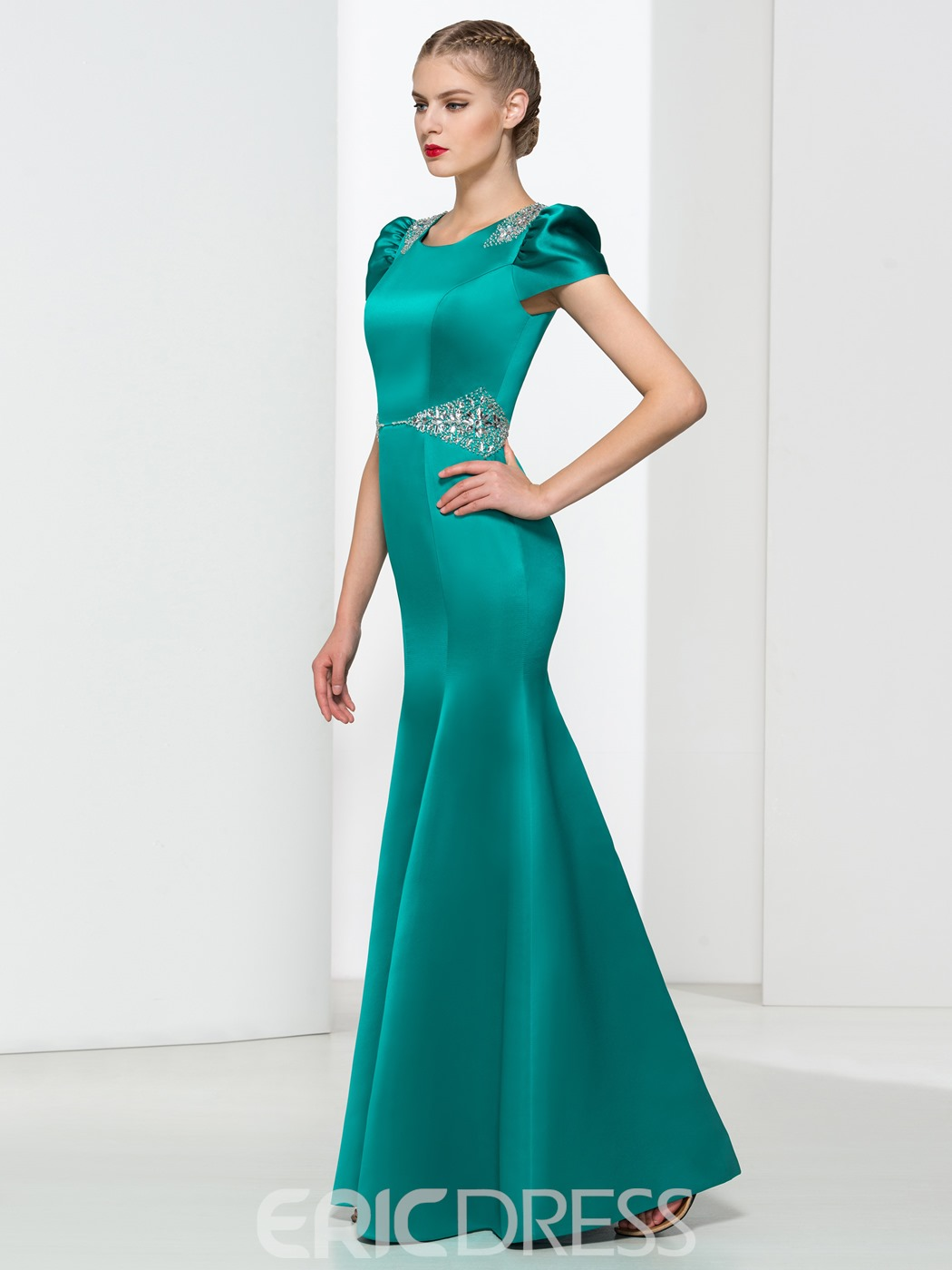 Ericdress Scoop Neck Short Sleeves Beading Mermaid Evening Dress