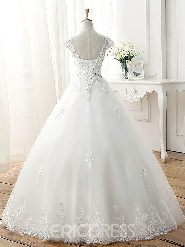 Ericdress Beading Appliques Ball Gown Plus Size Wedding Dress