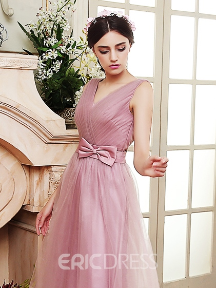 Ericdress Beautiful Bowknot V Neck A Line Bridesmaid Dress