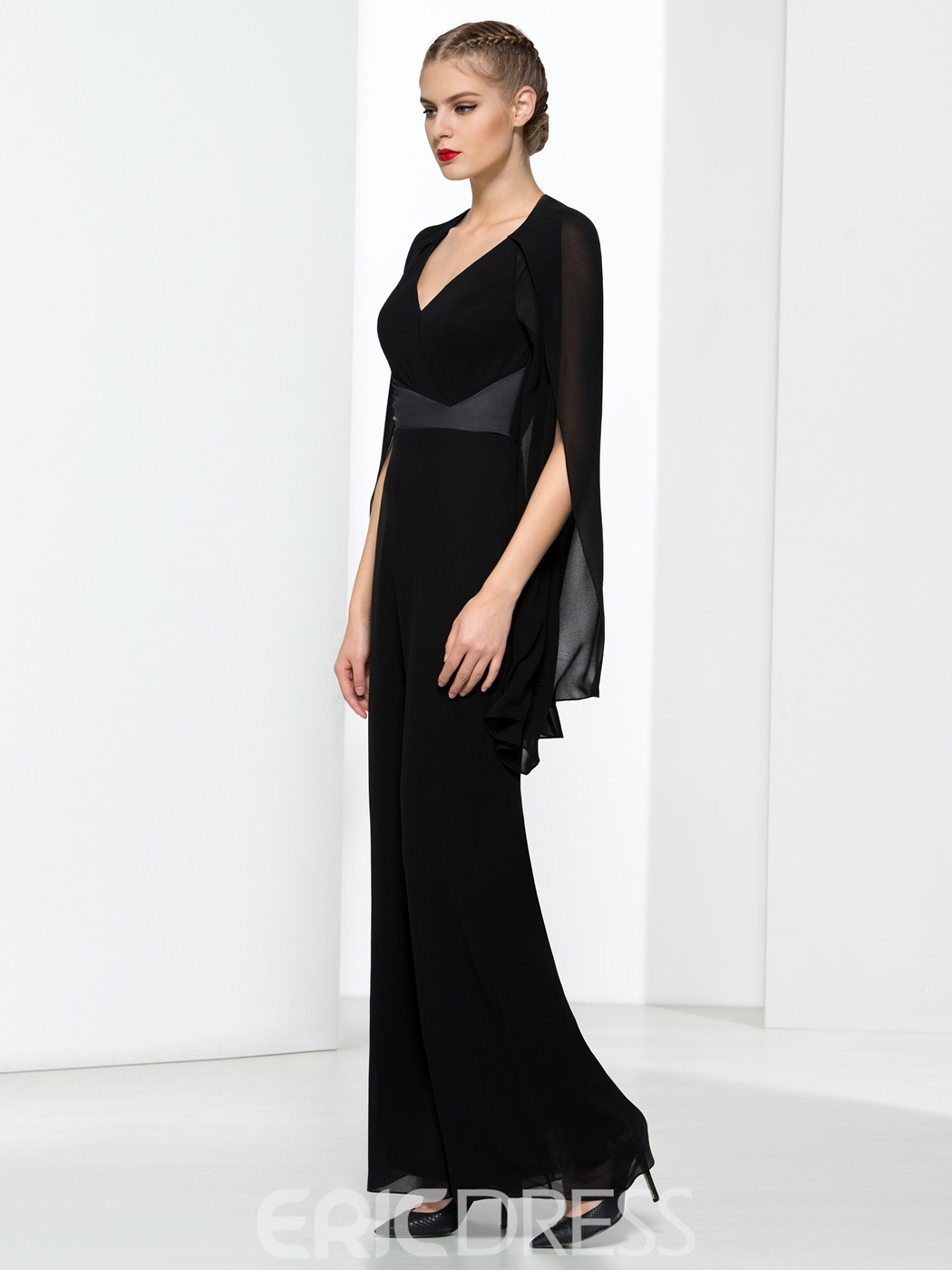 Ericdress Modern V-Neck Backless Black Prom Jumpsuit 11630052 ...