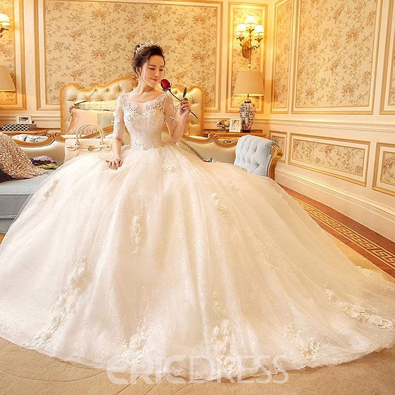 Ericdress Modest Scoop Lace Wedding Dress With Sleeves