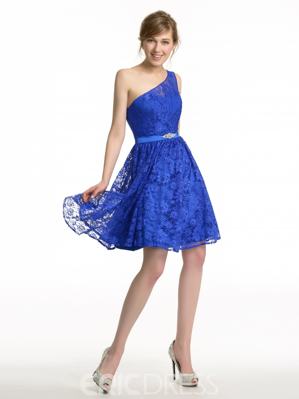 Ericdress Charming One Shoulder Lace Short Bridesmaid Dress