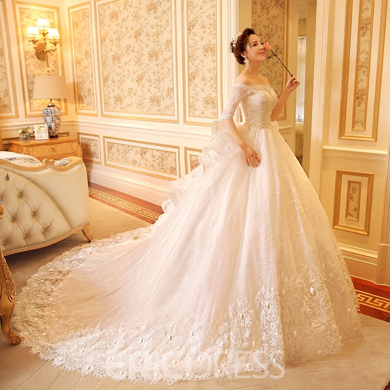 Ericdress Amazing Off The Shoulder Lace Wedding Dress