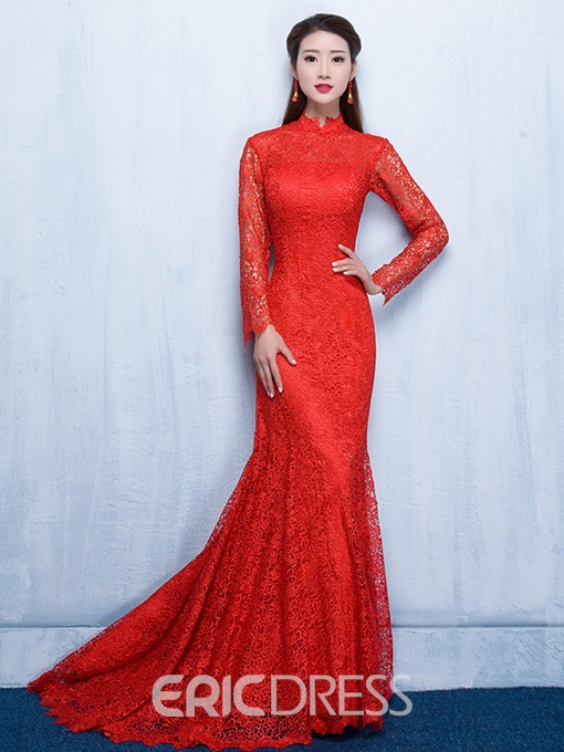 Ericdress High Neck Long Sleeves High Neck Mermaid Lace Evening Dress