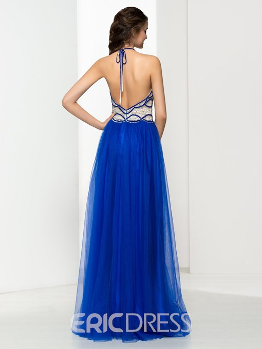Ericdress Halter Beading Sequins Backless Long Prom Dress