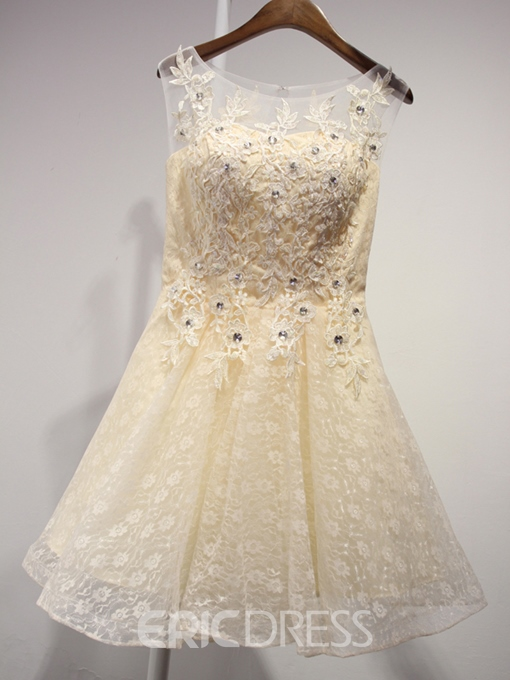 Ericdress A-Line Scoop Neck Appliques Beading short Homecoming Dress