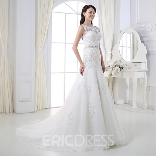 Ericdress Charming Appliques Beading Mermaid Wedding Dress
