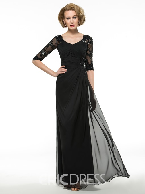 Ericdress Elegant Half Sleeves A Line Mother of the Bride Dress