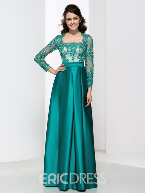 Ericdress Square Neck Beading Sequins Lace Evening Dress