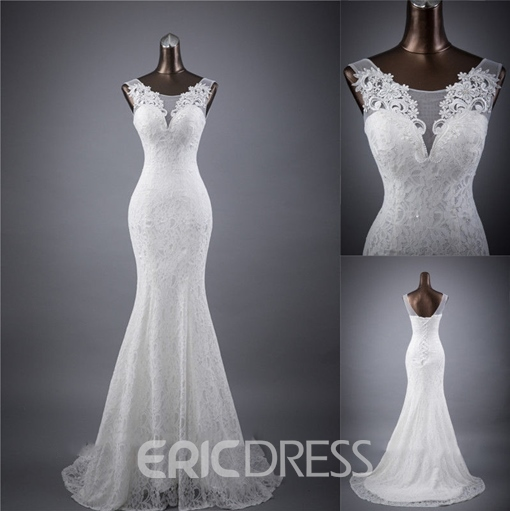 Ericdress Appliques Mermaid Lace Wedding Dress 2019