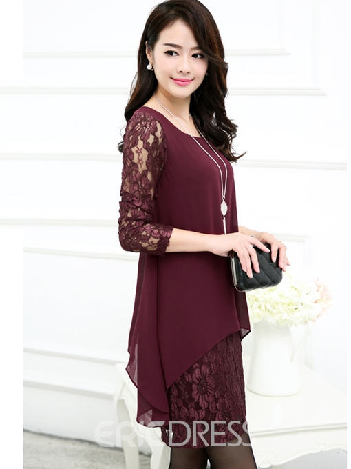 Ericdress Lace Patchwork Plus Size Casual Dress
