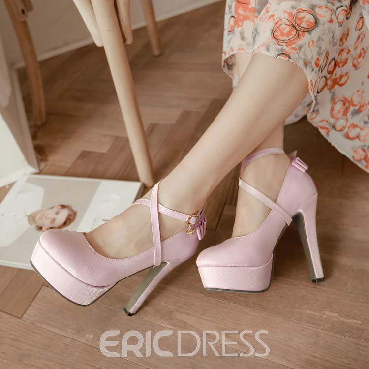 Ericdress Solid Color Crossed Strap Prom Shoes