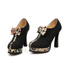 Ericdress Floral Patchwork High Heel Boots