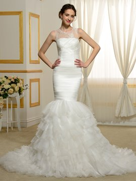 Ericdress Mermaid Jewel Sleeveless Tulle Wedding Dress