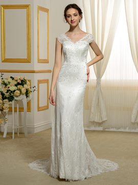 Ericdress schöne V Hals Lace Wedding Dress