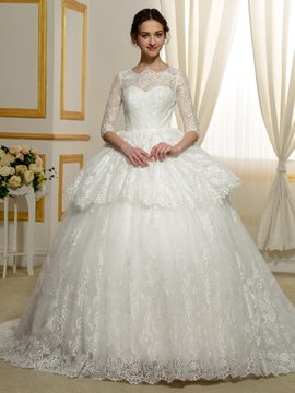 Ericdress Lace Ball Gown 3/4 Length Sleeves Wedding Dress