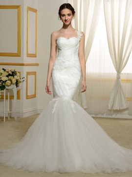 Ericdress One Shoulder Mermaid Appliques Beaded Tulle Wedding Dress