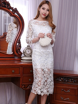 Ericdress Solid Color Long Sleeve Round Neck Lace Dress