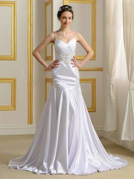 Ericdress Fancy Spaghetti Straps Beading Backless Mermaid Wedding Dress