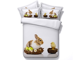 Easter Bunny and Chick Printed Cotton 4-Piece 3D Bedding Sets/Duvet Covers