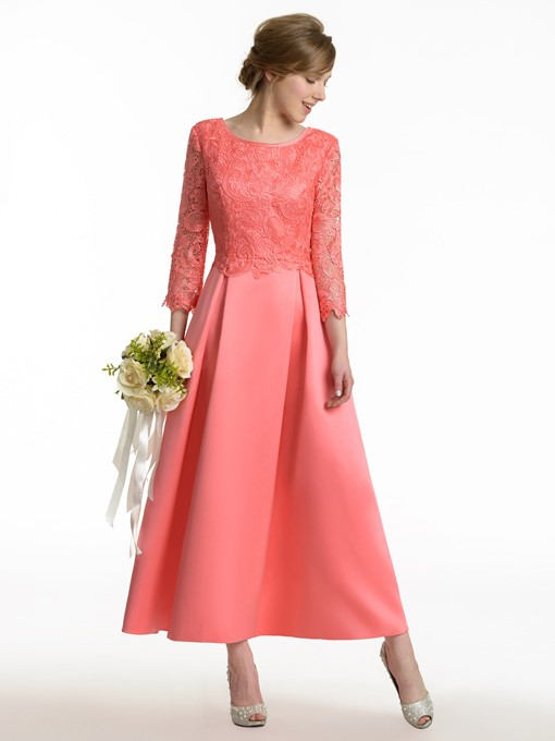 Ericdress 3/4 Length Sleeves Lace Bridesmaid Dress