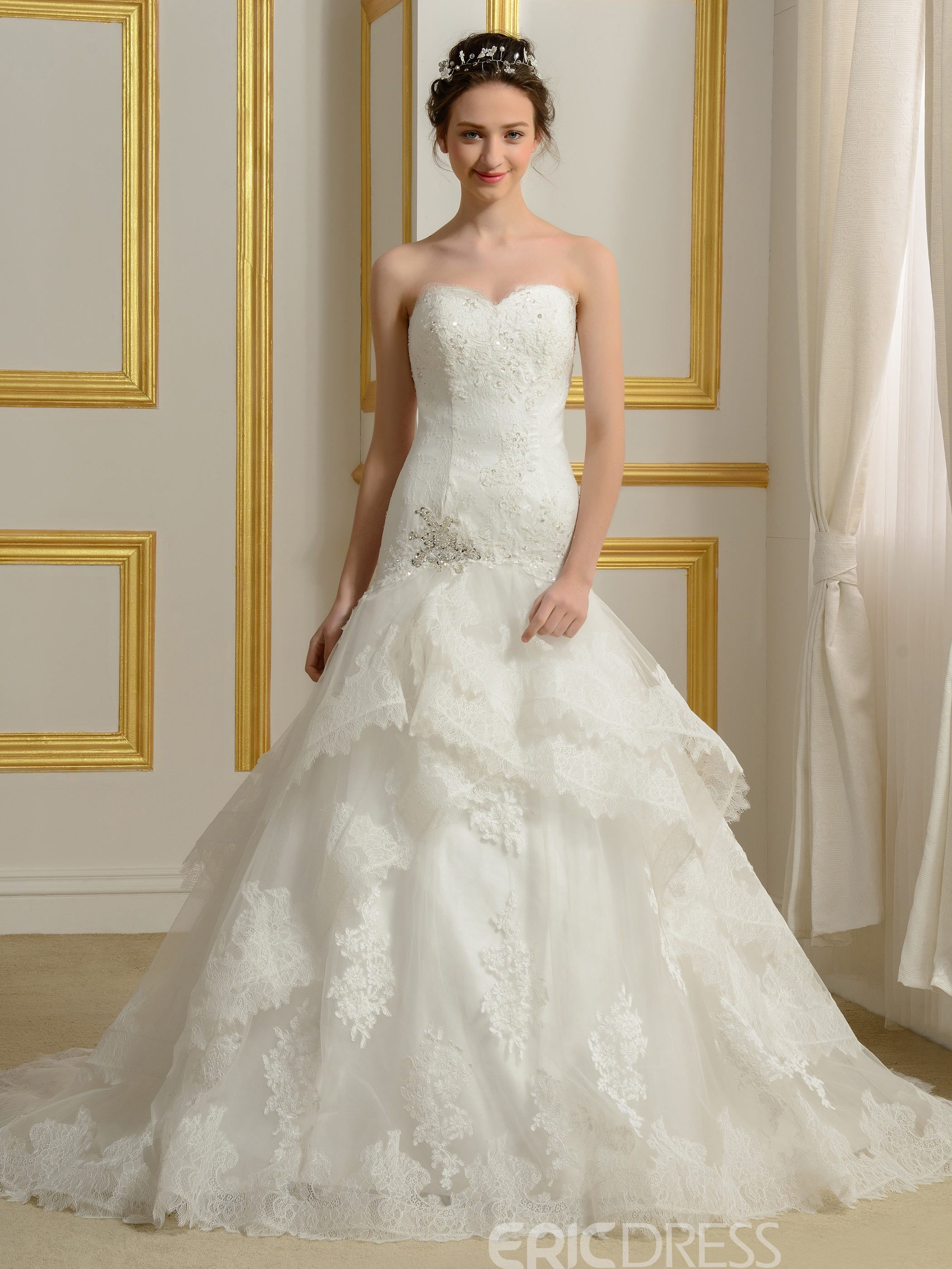 Ericdress Charming Sweetheart Appliques Lace Wedding Dress
