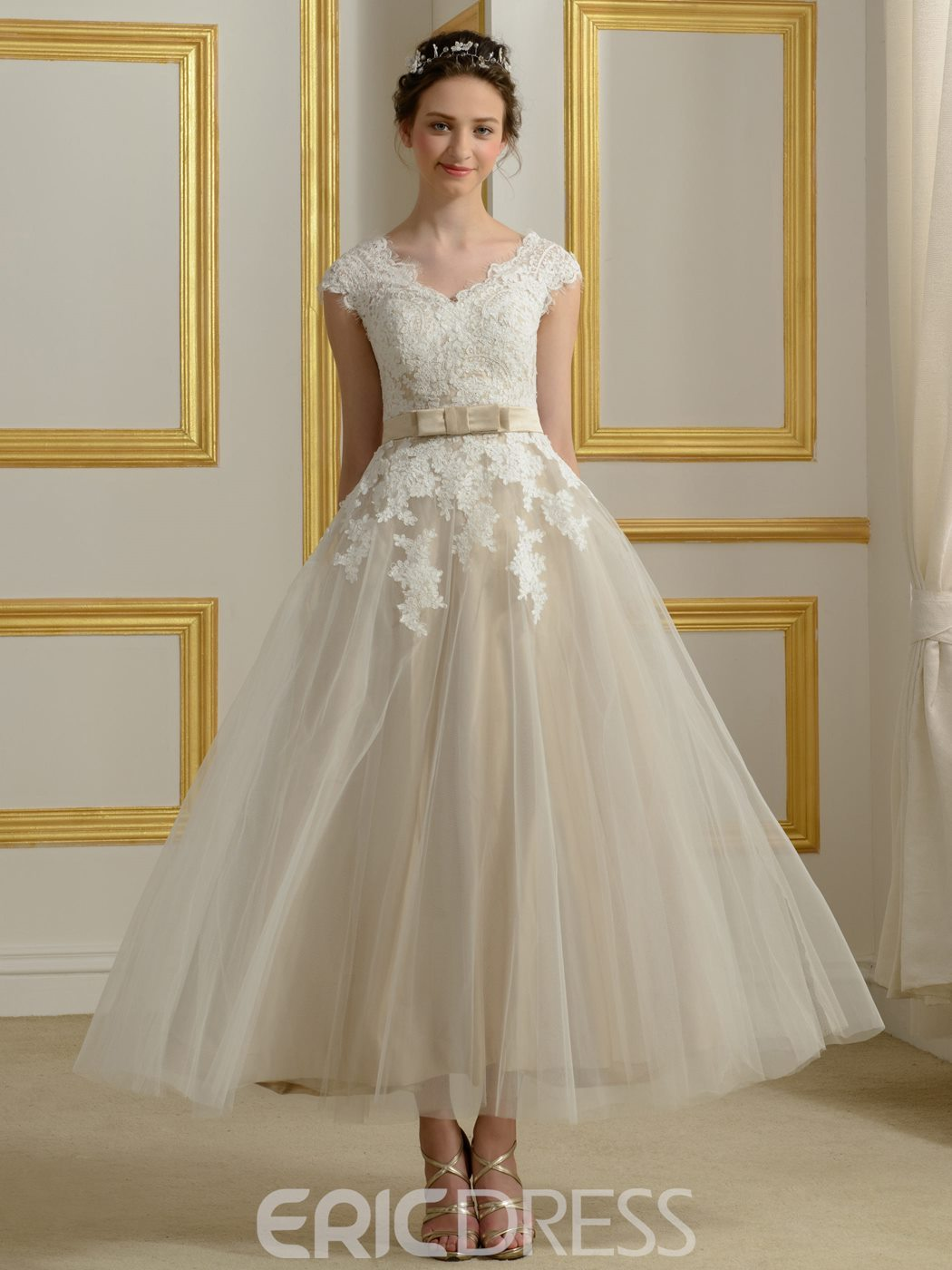 Ericdress Beautiful V Neck Appliques Reception Wedding Dress