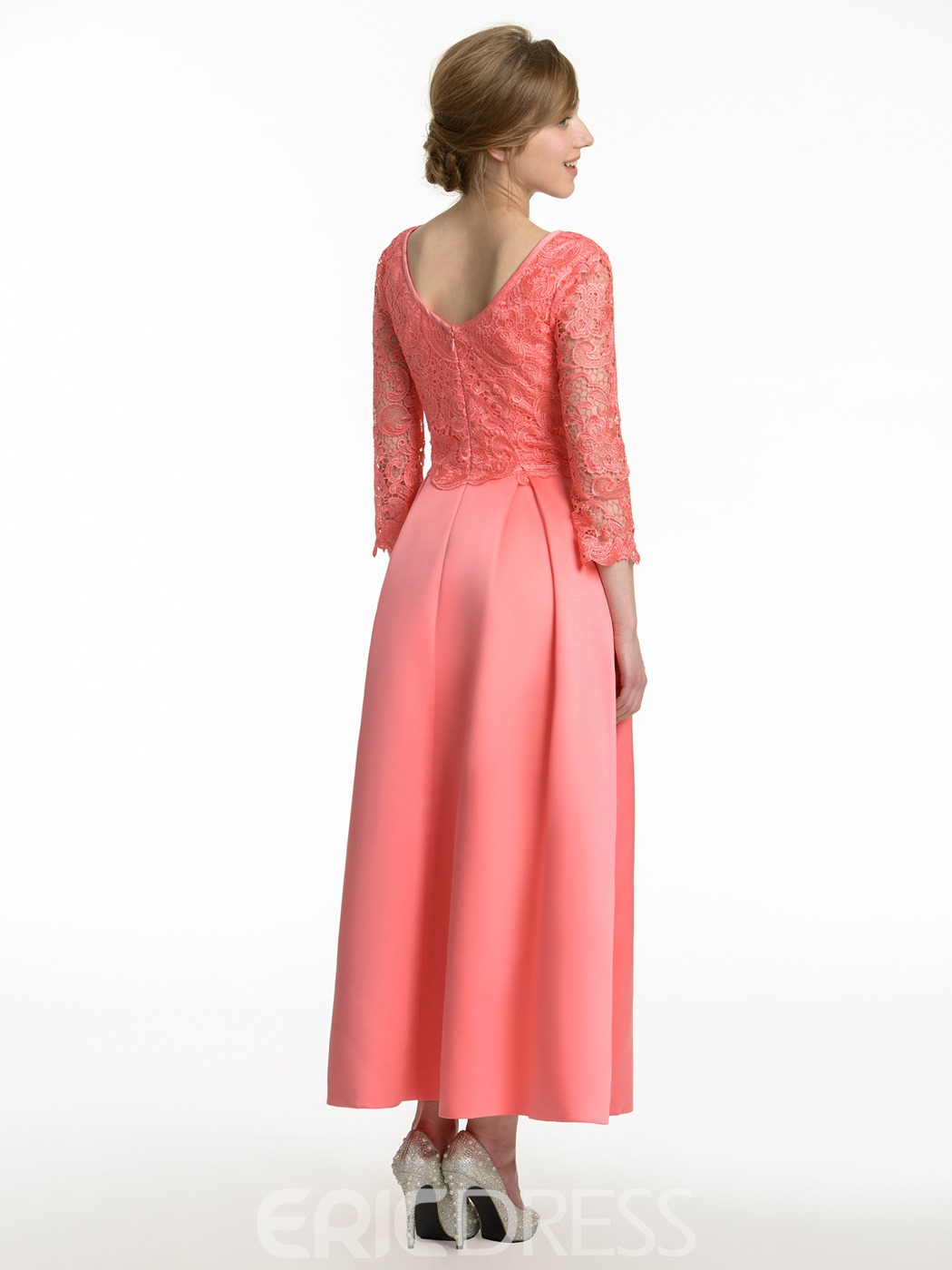 Ericdress Beautiful 3/4 Length Sleeves Lace A Line Bridesmaid Dress ...