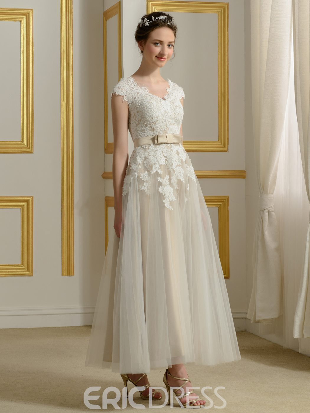 Ericdress Cap Sleeve Appliques Tea-Length Beach Wedding Dress
