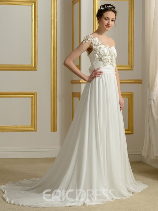 Ericdress Beautiful Flowers A Line Wedding Dress