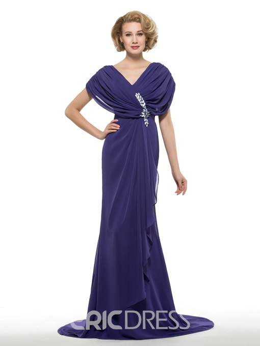 Ericdress Fancy V Neck Mermaid Chiffon Mother Of The Bride Dress