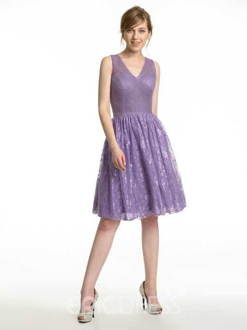 Ericdress Beautiful V Neck A Line Lace Bridesmaid Dress