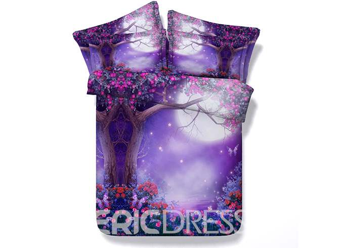 Vivilinen 3D Dreamy Moon Tree and Flower Printed Cotton 4-Piece Purple Bedding Sets