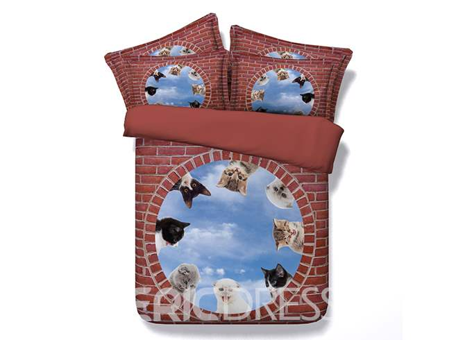Kittens and Blue Sky Printed Cotton 4-Piece 3D Bedding Sets/Duvet Covers