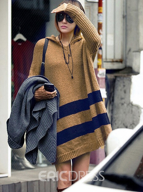 Ericdress Striped Long Sleeve Loose Hooded Sweater