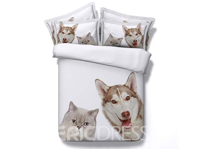 3D Husky Dog and Cat Printed Cotton 4-Piece White Bedding Sets/Duvet Covers