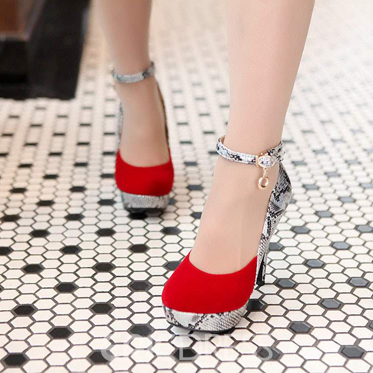 Ericdress Round Toe Snake Patchwork Chain Prom Shoes