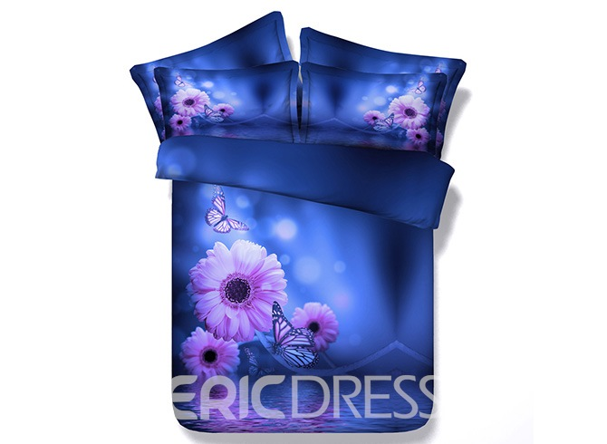Vivilinen 3D Butterflies and Daisy Printed Cotton 4-Piece Blue Bedding Sets/Duvet Cover