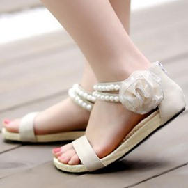 Ericdress Bohemian Flat Sandals with Flower&beads