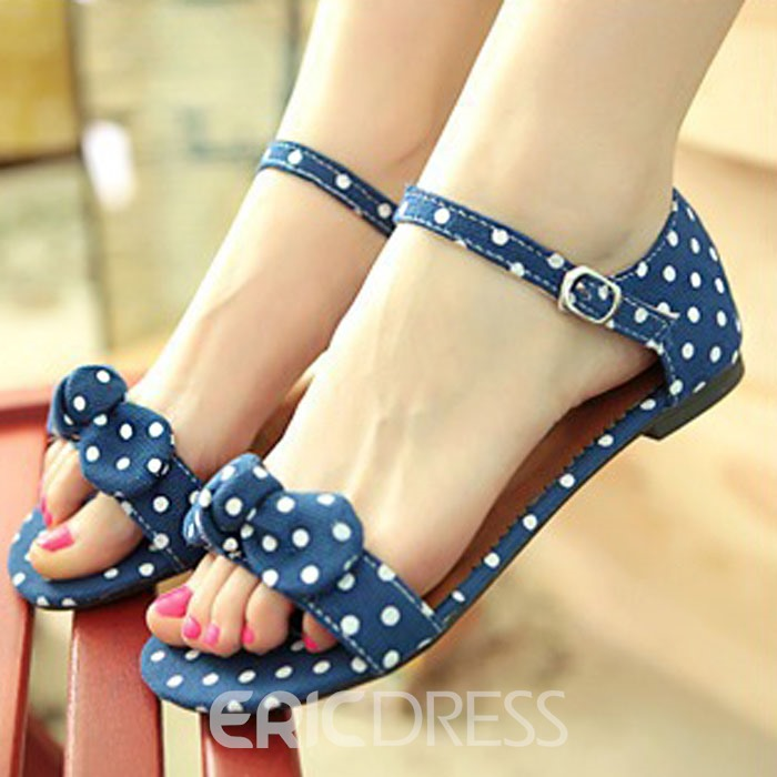 Ericdress Sweet Dots Flat Sandals with Bowtie