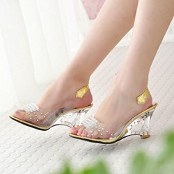 Ericdress Transparent Patchwork Slip-On PVC Wedge Sandals thumbnail
