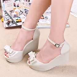 Image of Ericdress Chic Jelly Wedge Sandals with Bowtie