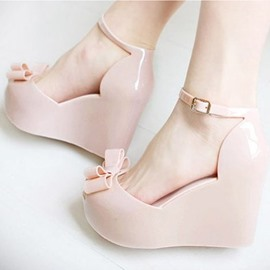 Ericdress Chic Jelly Wedge Sandals with Bowtie